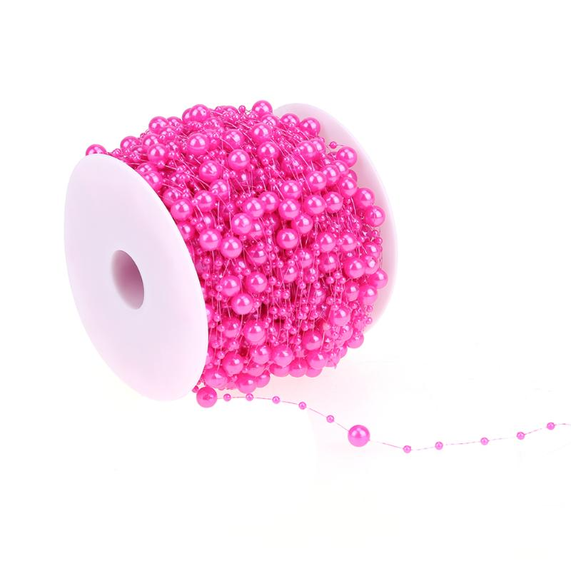 Weeding Decor Fishing Line Pearls Chain Pearl Beads Chain Garland For Bride Head Party Dreessing Modeling Halloween 60m