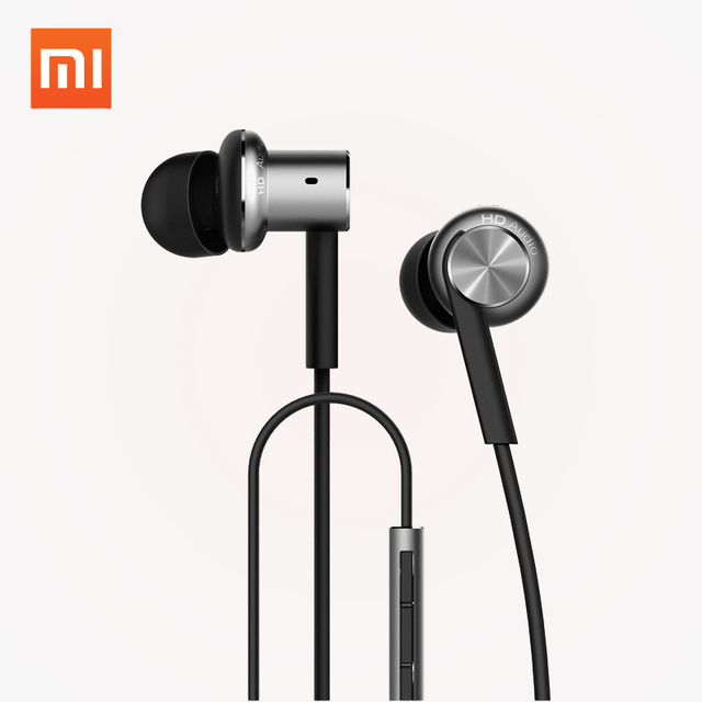 Original Xiaomi Mi Hybrid Earphones Wired Control Piston Dual Driver Earphone Stereo Headset Circle Iron Noise Cancelling Mic