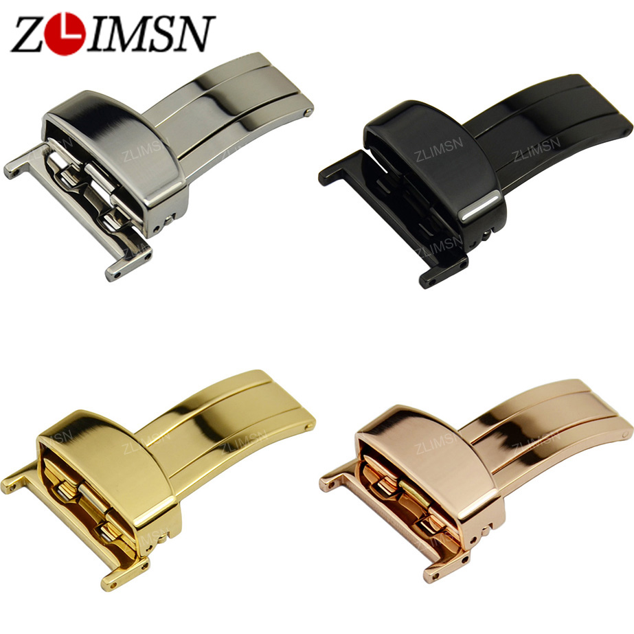 ZLIMSN Butterfly Deployment Clasp Single Fold Watch Buckle Stainless Steel Polished Straight 16 18 20 22mm