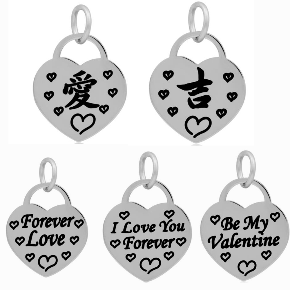 Minimal stainless steel heart pendants chinese character message minimal stainless steel heart pendants chinese character message love lucky lovers word making for jewelry necklaces 10pcs in charms from jewelry biocorpaavc