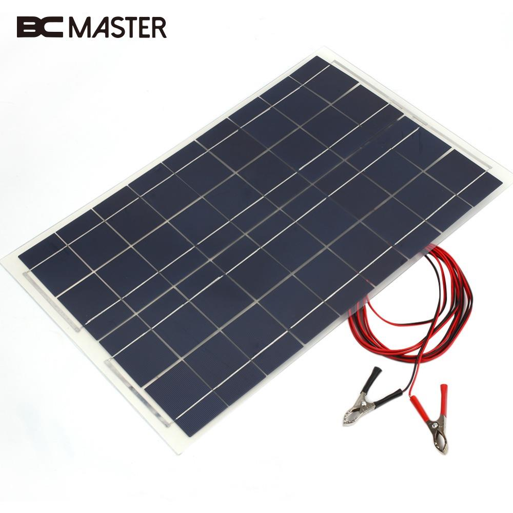 BCMaster 18V 30W PolyCrystalline Transparent Epoxy Resin Cells Solar Panel DIY with Block Diode2 Alligator Clips 3.5m Cable Pro