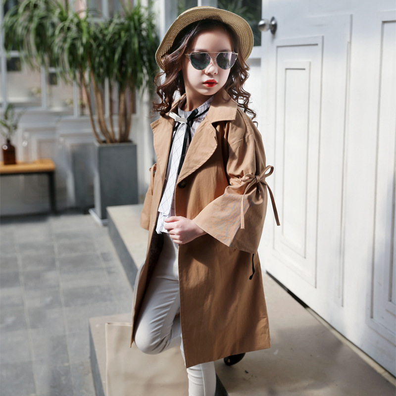 cotton   trench   coats for girls spring autumn flare sleeve kids girls jackets Children Clothes coats for girls outwear 2018
