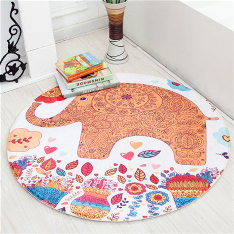 Cartoon Animals Baby Play Mats Pad Toddler Kid Crawling Blanket Round Carpet Rug Toy Mat Baby Mutifunctional Anti-slip Play Mats