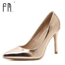 FEDIMIRO 9.5 CM Mujer Zapatos de Tacón Alto de Charol Boca baja de Tacones Finos bombas de punta estrecha Sexy 8 colores Tamaño 34-42