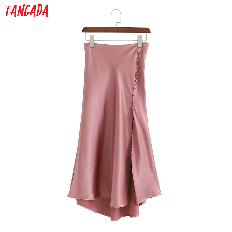Tangada Women Irregular Skirt Side Buttons Hem Open High Waist Ladies Fashion Elegant Pleated Skirts Faldas Mujer 1D336