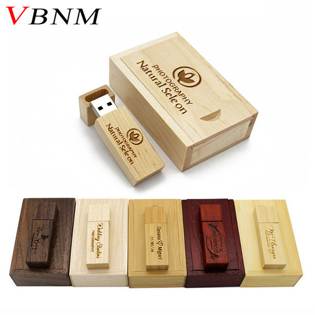 VBNM (over 10 PCS free LOGO) Wooden usb+box usb flash drive Memory stick pendrive 8GB 16GB 32GB U disk Photography wedding gift