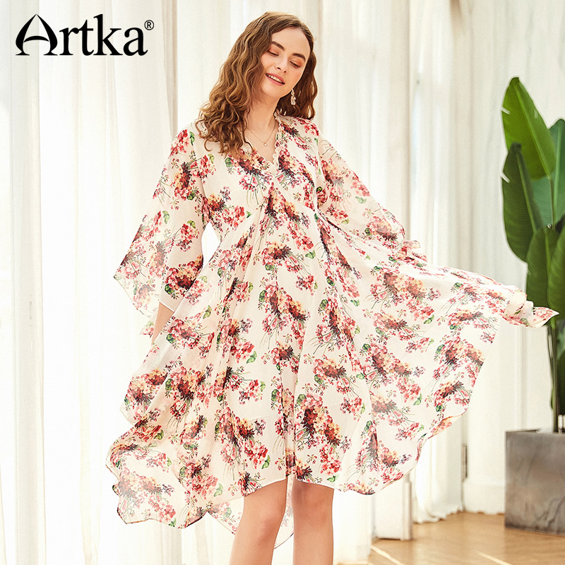ARTKA 2018 Summer Women Holiday Style Floral Print V Neck Flared Sleeve Irregular Hem Big Swing Elegant Romantic Dress LA11187X