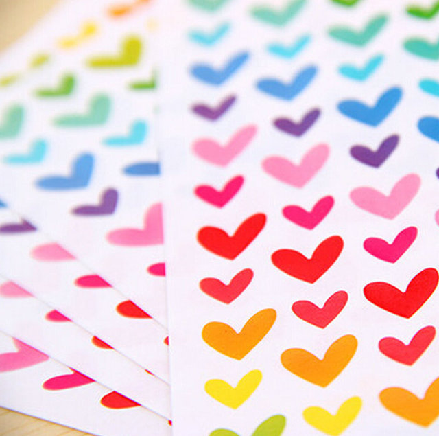 1 paquete = 6 hojas coloridas puntos frescos corazón estrella etiqueta pegatinas diario planificador álbum álbumes foto decoración calcomanía