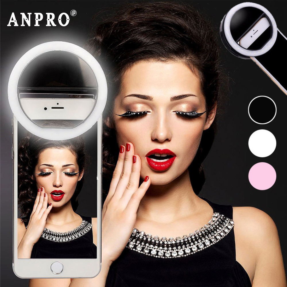 Anpro LED Mobile Phone Selfie Light Clip-On Lamp Portable LED Flash Fill Light Photo Camera For Iphone Smartphone