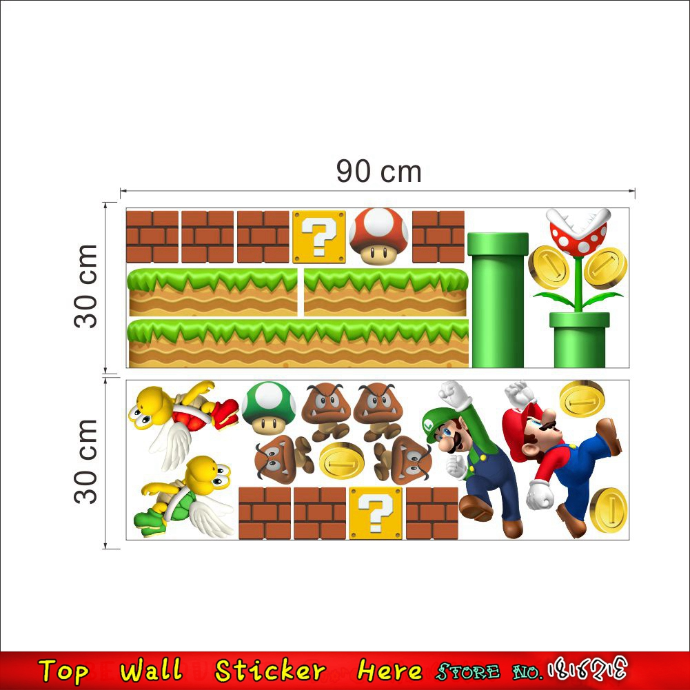 Ungiftig Jungen Kinderzimmer Tapeten Paste Super Mario Wandaufkleber ...
