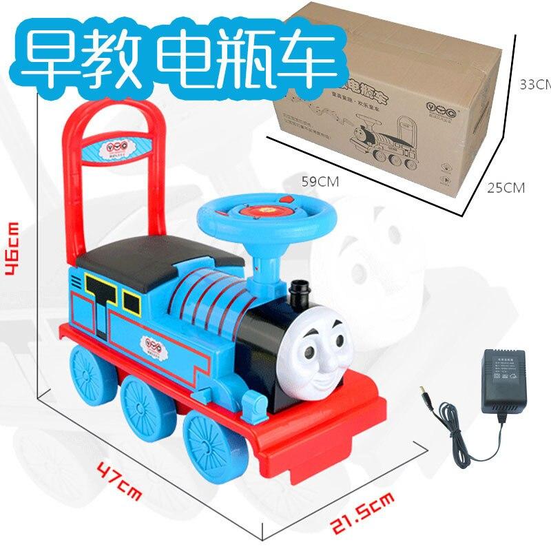 Livraison gratuite petit Train voiture électrique Rail enfant bébé marcheur peut s'asseoir poussette jouet voiture garçons jouet monter dans le Train - 4