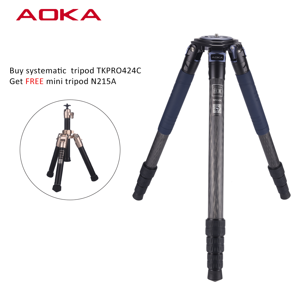 AOKA Professional heavy high load capacity 30kgs flexible systematic stativ carbon fiber big tripod for traveller
