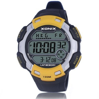 XONIX Brands Big dial digital watch  100M Waterproof Hourly Chime Alarm watch , World Multiple Time Zone Outdoor Sport Watch Men