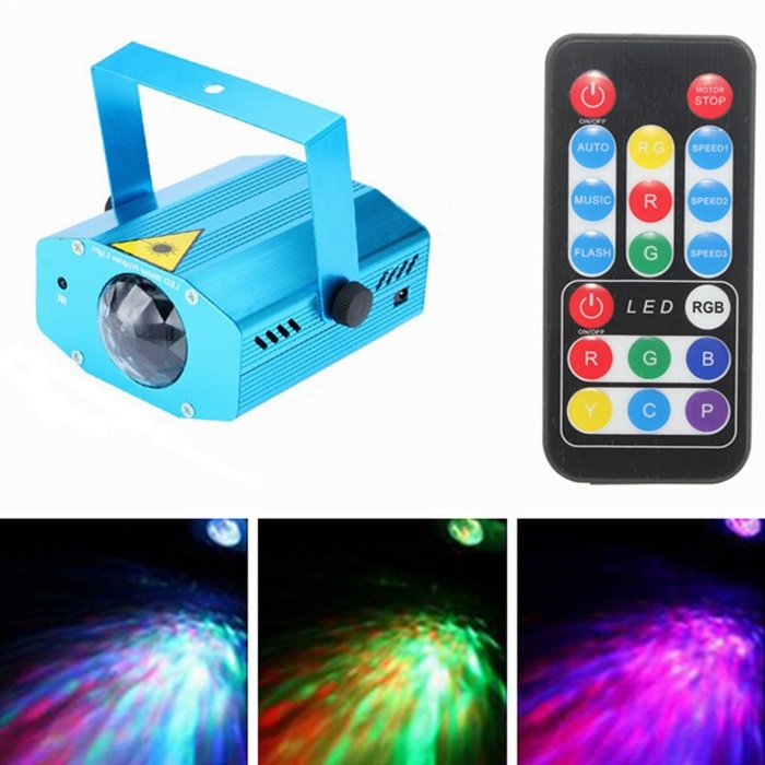 AC85-265V Min 3W Remote wave projection RGB LED Water Wave Ripple Effect Stage Light Lamp Music Auto Party DJ Laser Projector