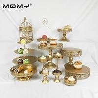 Hot Sale 13 Pcs Fancy Wedding Gold White Pink Cake Dessert Display Decorating Fruit Stand