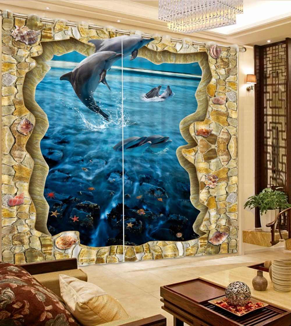 איכות גבוהה מותאם אישית וילונות וילונות לסלון חדר שינה הדפסת 3D משחק דולפין Sheer וילונות וילונות מטבח