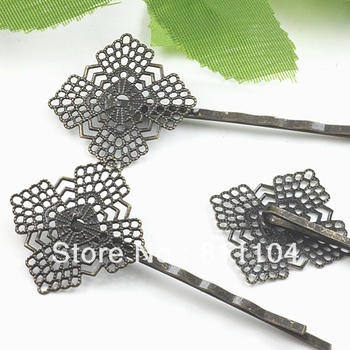 22mm Vintage Antique Bronze Plated Copper Blank Bases Filigree Flower Tray Hairpins Hairwear Hair Clips Settings Blank Wholesale