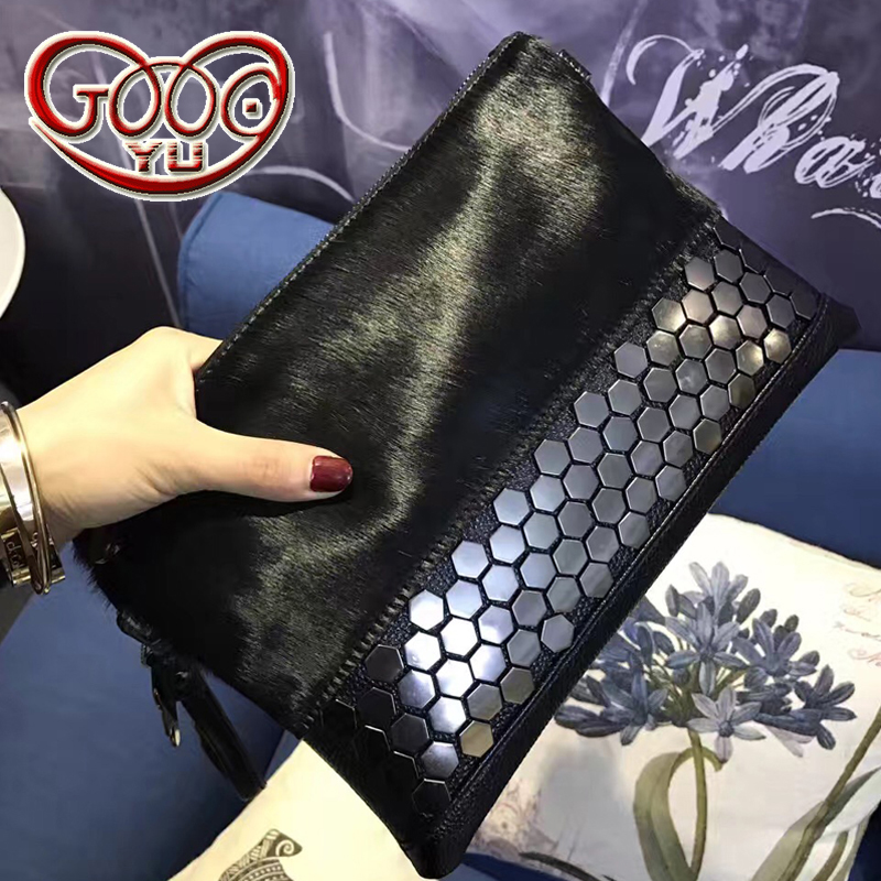 New Europe and the United States hand lingerie woolen hat Ma hair shoulder Messenger bag Liu nail hand bag tide small bag europe and the united states women s new winter 2016 worn out show thin butterfly sequins loose nine points straight jeans
