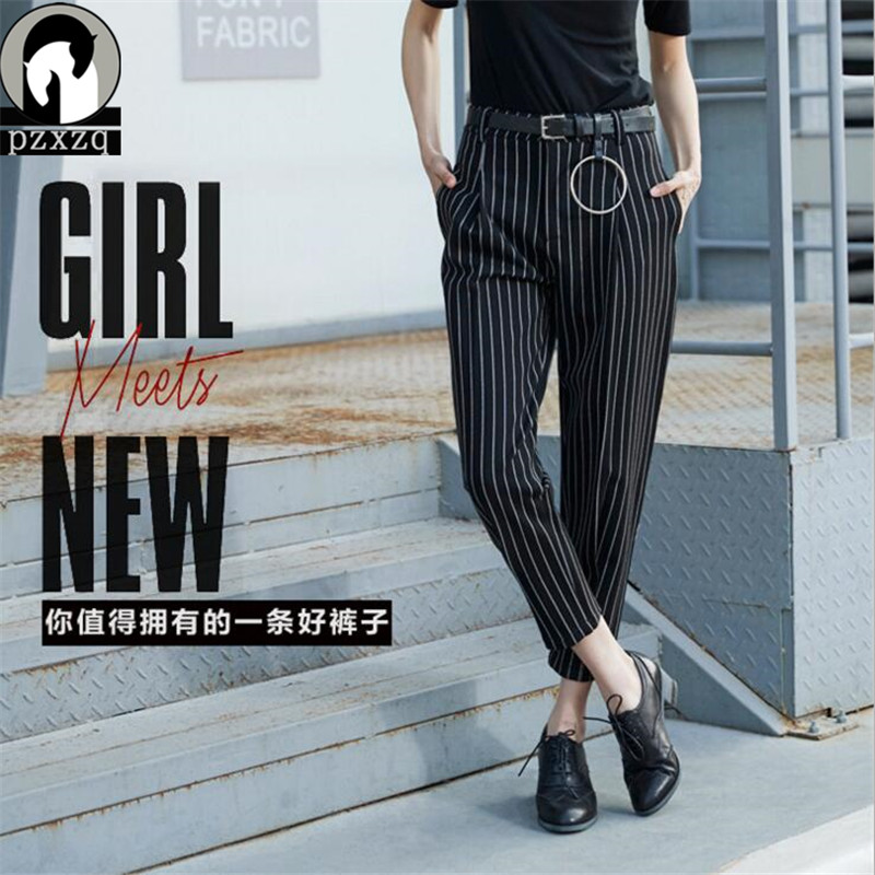2017 Brand New Spring Stripe Elastic High Waist Casual Slim Harem   Capris   Black Ankle-Length Pencil   Pants   Boot Cut Trousers