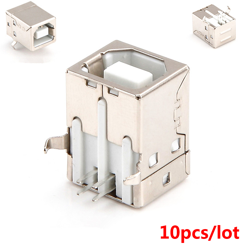 10pcs USB B Female Adapter Connector Plugs USB 4Pin 90 Degree USB B Type Steel Printer USB Connector Printing Plugs HY050