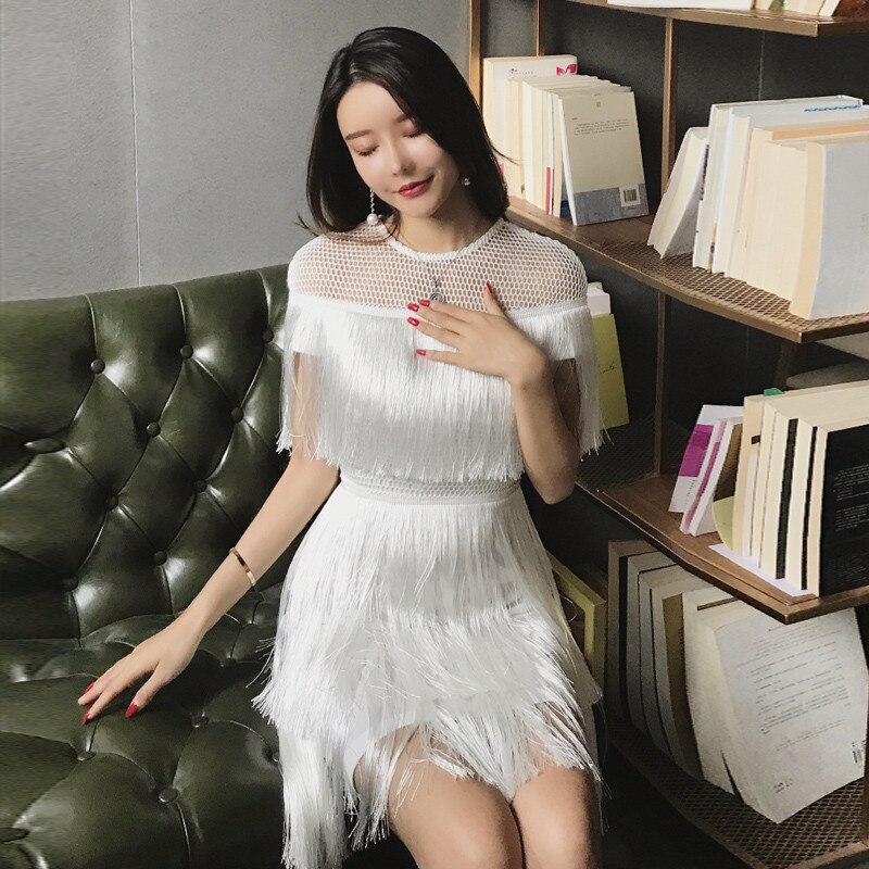 Femmes 2019 été mode Champagne blanc robe cape sans manches couture couche gland robe de soirée O cou Chic gâteau Mini robe