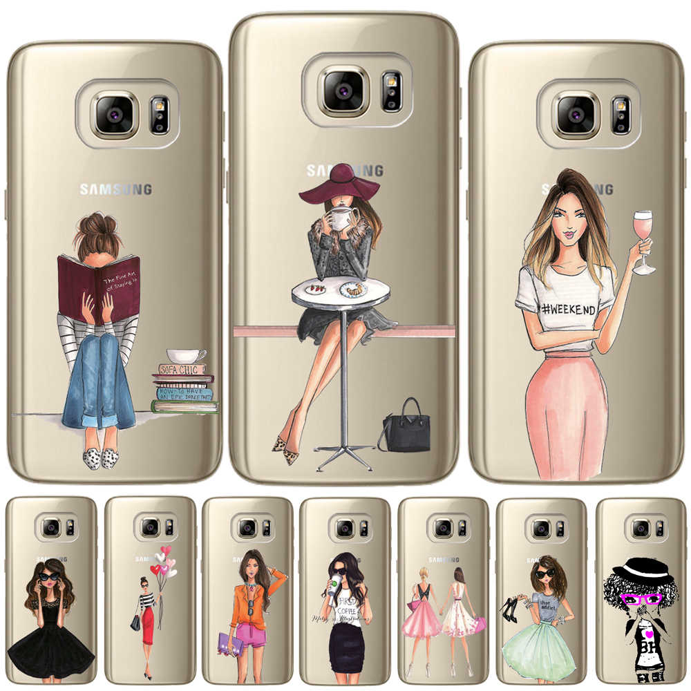 Fashion Classy Paris Girl Summer Legs Soft TPU Cover For Samsung Galaxy S6 S7 Edge S10 S8 S9 Plus E S10E Note 8 9 Silicon Case