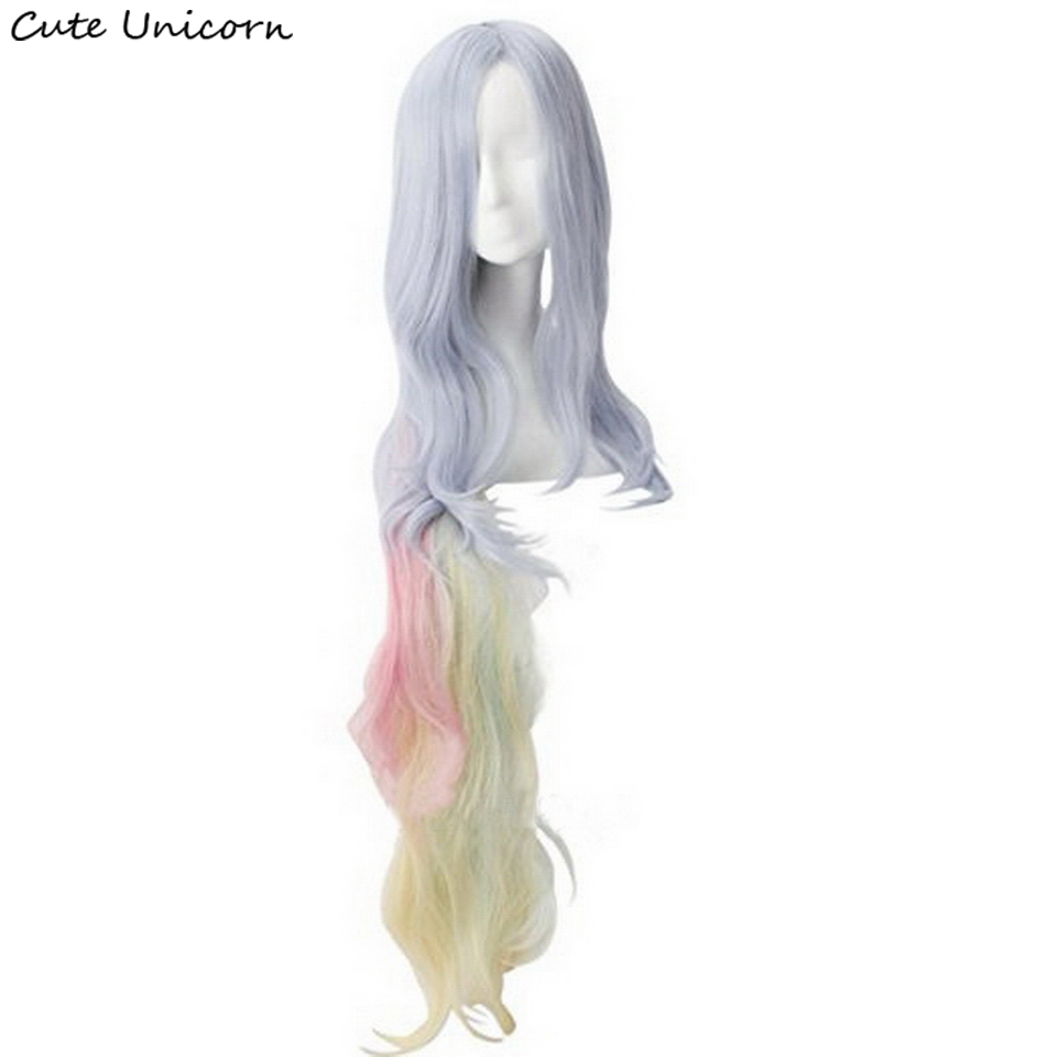 Anime NO GAME NO LIFE Shiro Cosplay Wigs 120cm Long Curly Wavy Heat Resistant Synthetic Hair Perucas Women Wig with Chip Ponytai