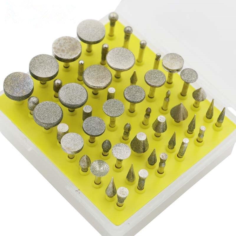 50pcs/set Diamond Coated Grinding Grinder Head Glass Burr For DREMEL Rotary Tools