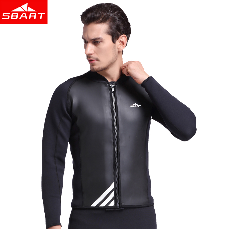 SBART 2MM Neoprene Wetsuit Jacket Men Long Sleeve Full Zipper Super Stretch Wetsuits Tops For Surfing Warm Sunscreen Jumpsuit L sbart upf50 rashguard 2 bodyboard 1006