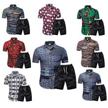 Men Hawaii Holiday Summer Floral Blouse Shirt Top Suit Sets Black Pants 2PC  8 Colors