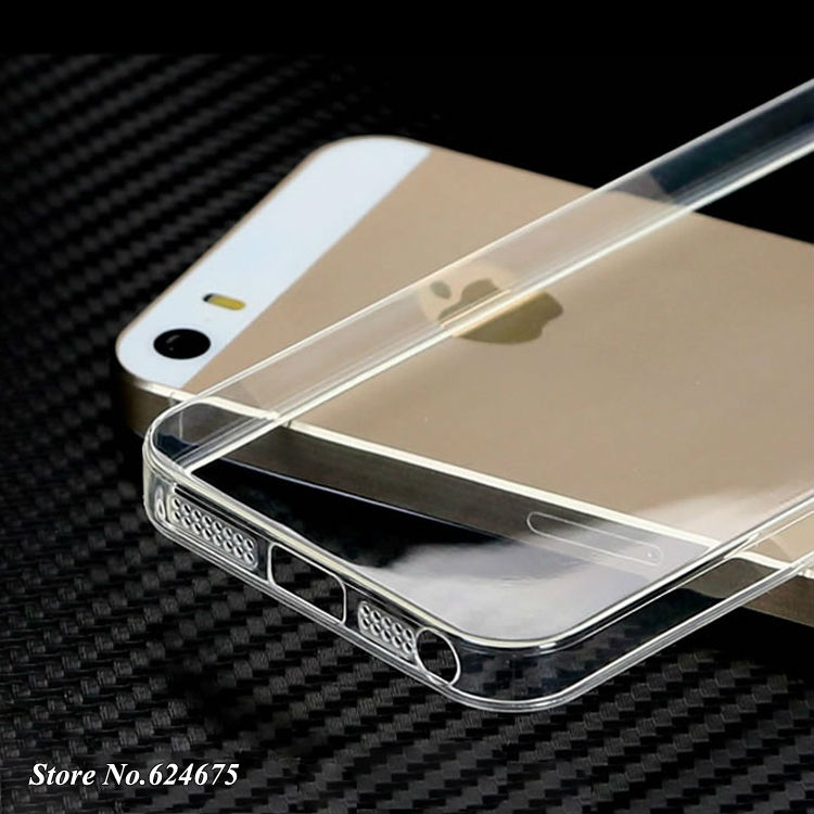 5 s 0.3mm Soft Silicon Case for iPhone 5 5s 5g apple Logo Clear Transparent Skin Silicone Cover Ultra Thin Mobile Phone Bag Ca