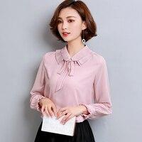New Shirt Women OL Fashion Peter Pan Collar Bow Women Blouses Long Sleeve Chiffon Blouse Office