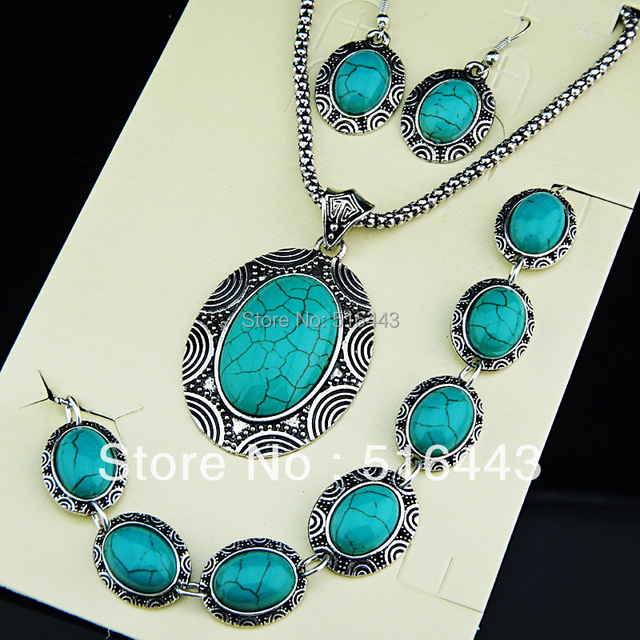 New Arrival 3pcs Vintage Antique Tibetan Silver Natural Stone Oval Earrings Bracelet Necklace Women Jewelry Set  A671