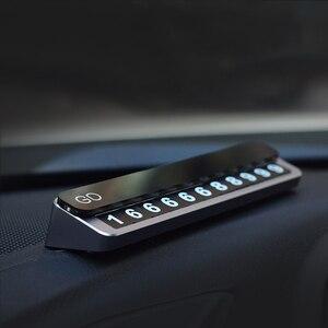 Image 3 - Tarjeta de Metal para estacionamiento temporal de coche, soporte de número de teléfono, placa de número de teléfono móvil, tarjeta de estacionamiento automático en las pegatinas de Diseño del coche