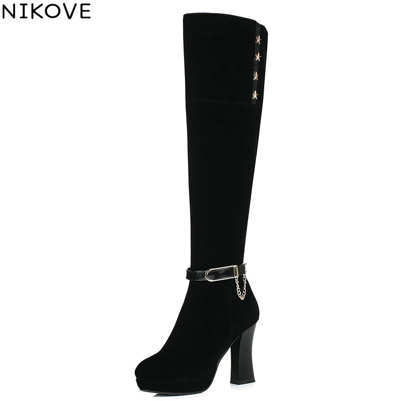 NIKOVE 2017 Western Style Women Boots  Square High Heel Over The Knee Boots Autumn Winter Shoes Sexy Fashion  Boots Size 34-40 esveva 2017 western style flock women boots over the knee boots winter square high heel ladies lace up fashion boots size 34 43
