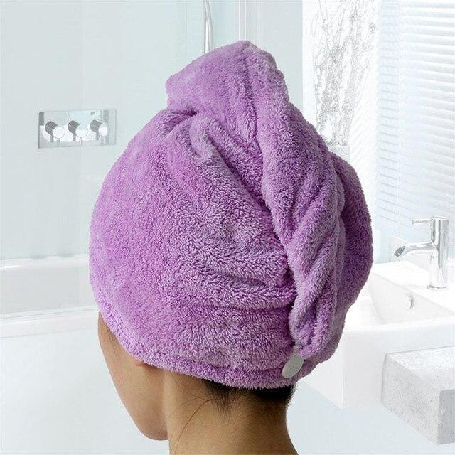 Toalla turbante para el pelo con medidas 25x25x65cm.