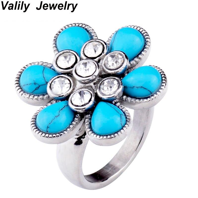 outlet store a2fdb 1be82 Anillo de las mujeres nave de la Gota Azul ventas vintage flor anillo para  las mujeres Acero inoxidable boda Anillos Navidad regalo