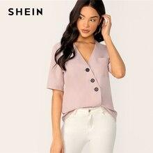 b072e13ca SHEIN de bolsillo de parche único Breasted abrigo blusa Oficina dama cuello  V Blusa de manga