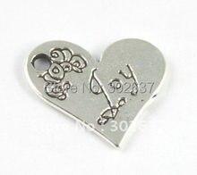 60 шт. Тибетский серебристый цвет в форме сердца JOY charm A15221