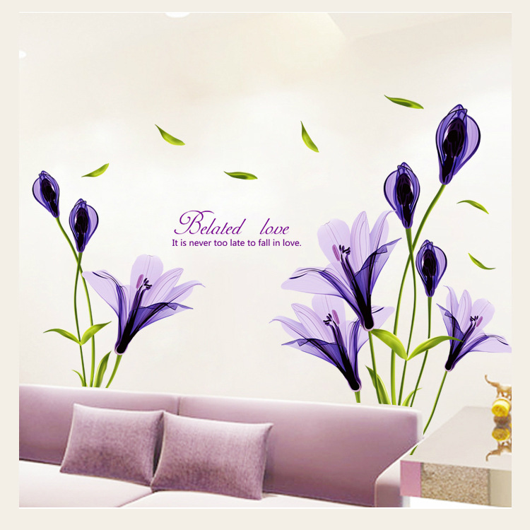 Home Decoration Wall Sticker Purple Flower Wall Stickers Decor For