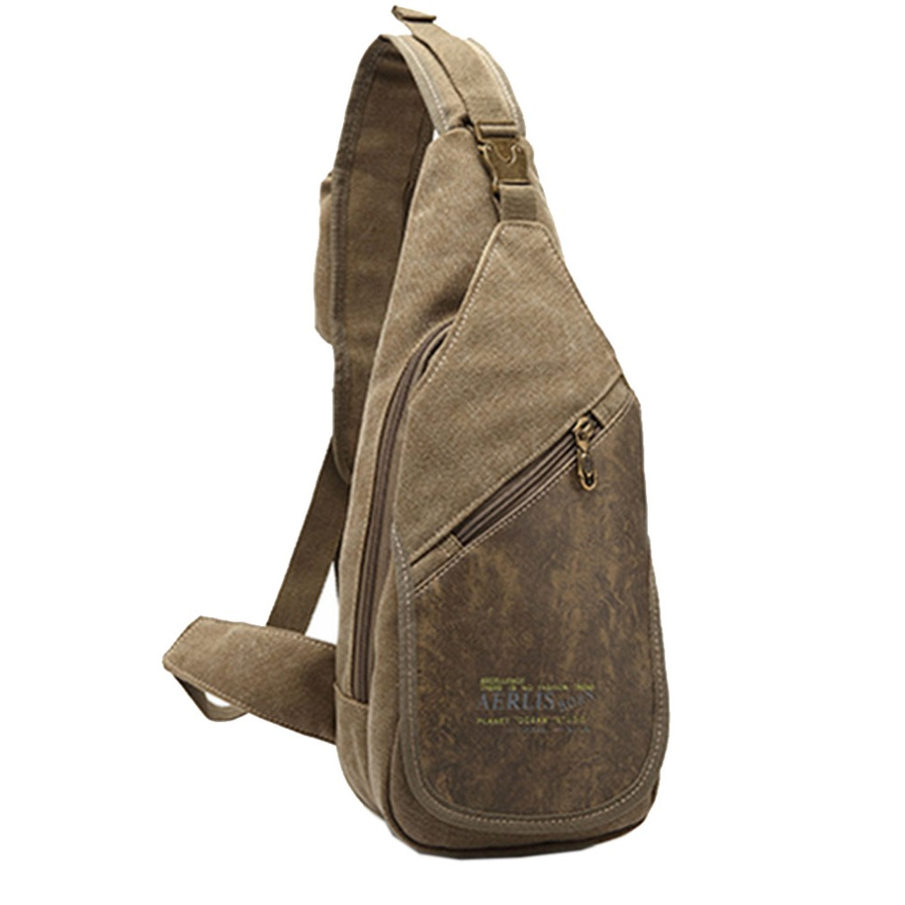 ac9e6e705b17 2018 New Men Canvas With PU Leather Stitching Sling Chest Bag Military  Travel Cross Body Messenger Shoulder Back Pack Bag on Aliexpress.com