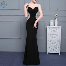 Ameision Sex Black Backless Satin  Zipper Elegant Evening Dresses Mermaid Party Gown Gowns Formal