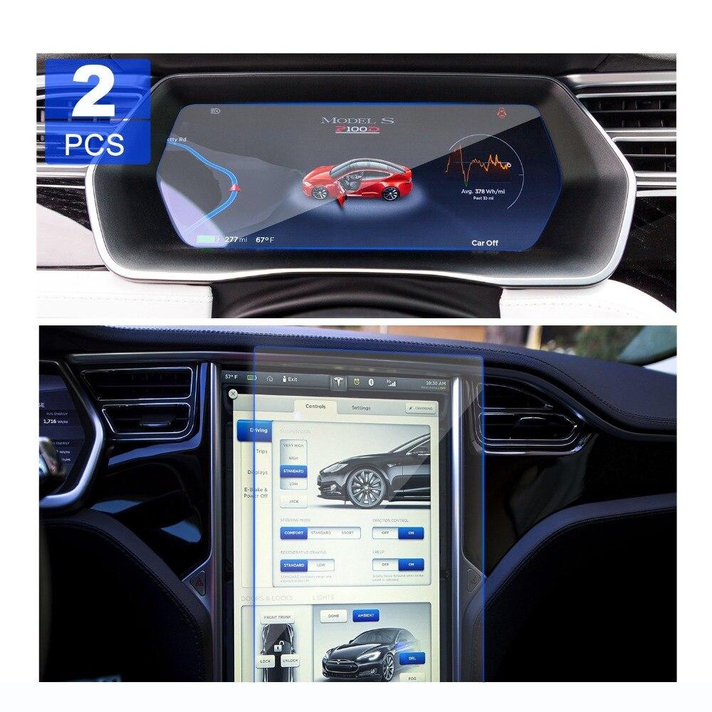 [NUOVO] 2 pz RUIYA Tesla Modello X/S di navigazione per auto protezione dello schermo e cruscotto protezione dello schermo, 9 H vetro temperato pellicola protettiva