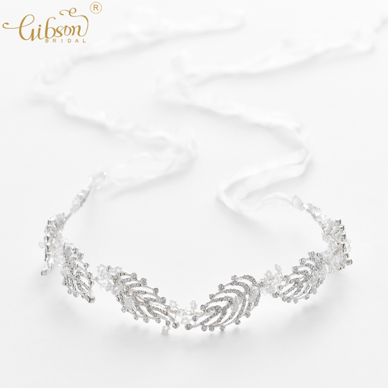 Crystal Forehead Band Bridal Hair Vine Rhinestone Leaf Branch With Veil Wedding Tiara Headband Silver Headpiece Accessories delicate rhinestone leaf link chain hair band for women