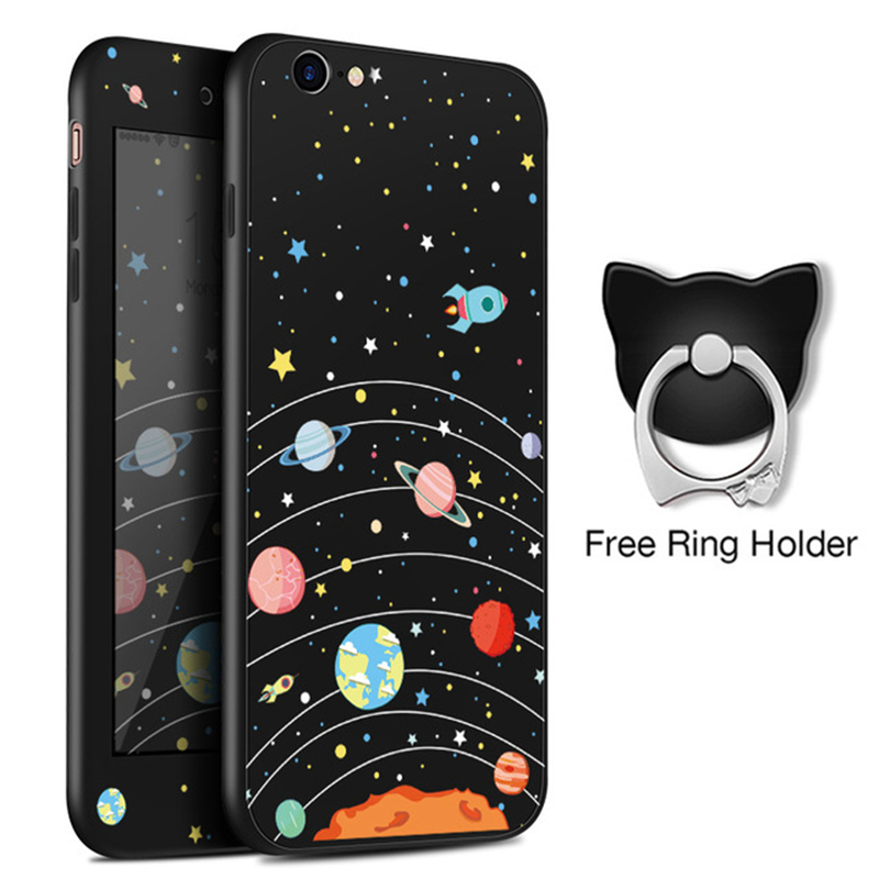 360 Full Cover Iphone 6 6S Case Silicone Cute Original Drawings For Iphone 6 6S Plus Screen Protector For Free