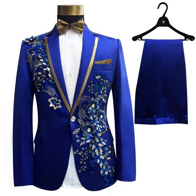 שלוש חתיכות להגדיר חליפות גברים של זמרים לבצע שלב להראות פאייטים רקום פרח אדום כחול ורוד חתונה חליפת תלבושות Homme