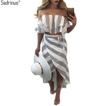 Sedrinuo Cascading Ruffle Striped off Shoulder Sleeveless Beach Wear Two Piece Summer Dress 2018 Casual Bodycon Beach Dresses