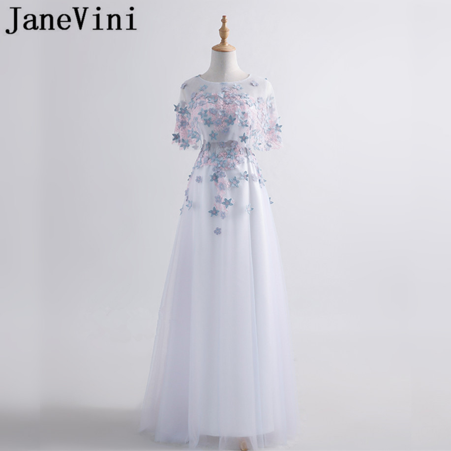 JaneVini Illusion Long Prom   Dresses   With 3D Flowers Decoration 2018 Tulle Floor Length   Bridesmaid     Dress   Wedding Party   Dresses