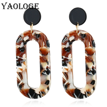 YAOLOGE Simple Elliptical Acrylic Earrings Personality Design Hollow Geometric Popular Jewelry For Women Accessories New