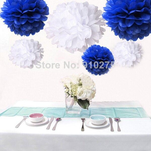 12pcs Mixed Royal Blue White Tissue Paper Pom Poms Pompoms Paper